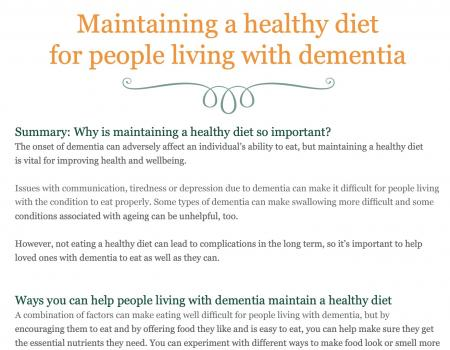 Healthy diet for someone living with dementia