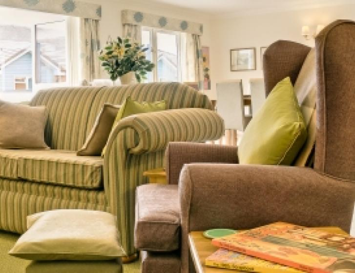 Close up of a sofa and armchair, with a dining table in the background