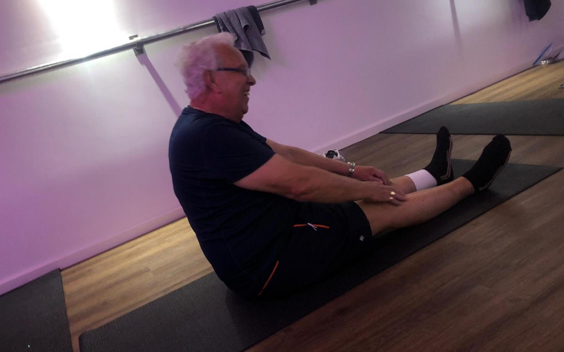 A participant enjoys the Active Recovery session