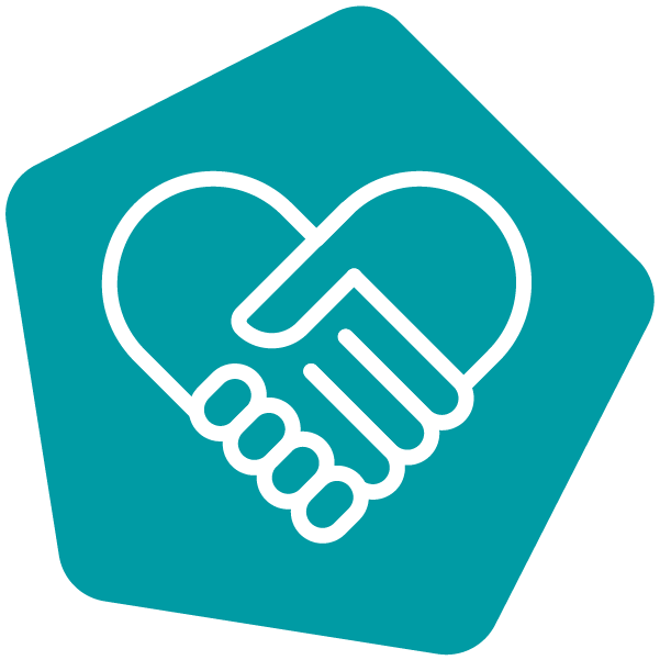 Holding hands icon in teal