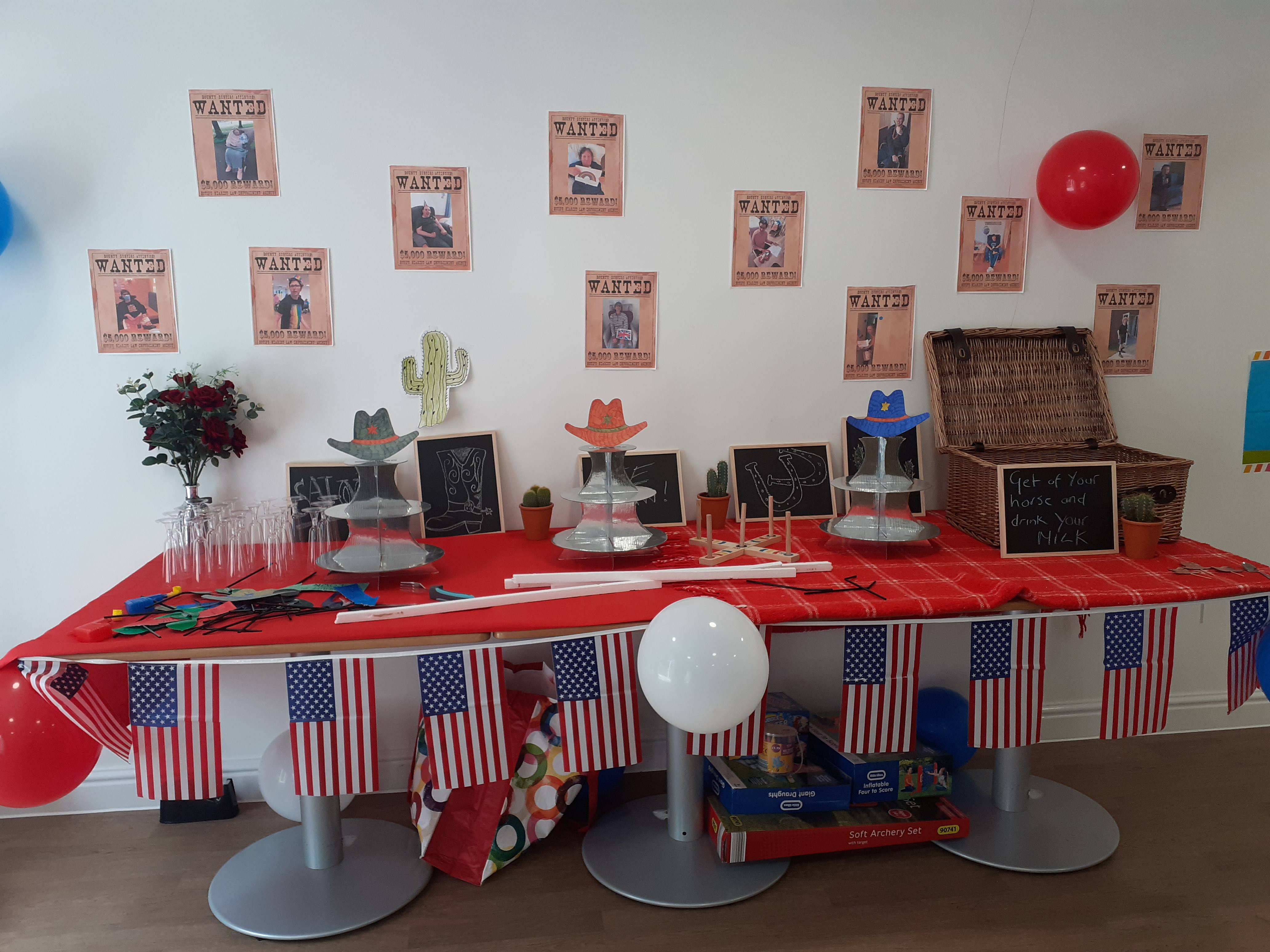Photo of decorations at Ribble View care home for hoedown themed picnic
