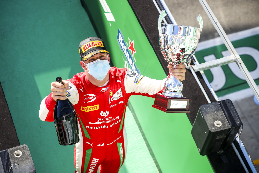 Mick celebrates his Formula 2 victory in Monza last year.