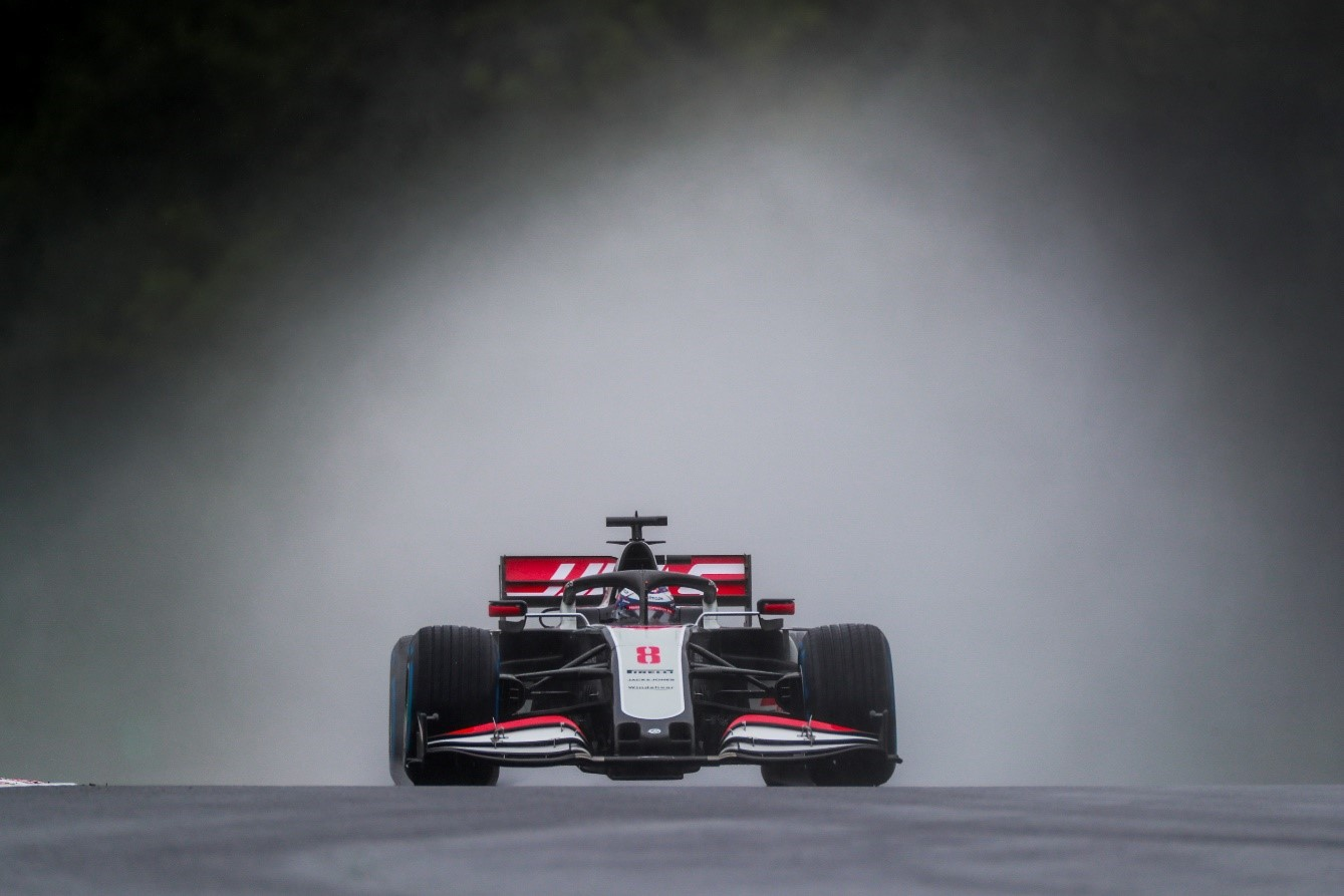 Haas racecar on race circuit