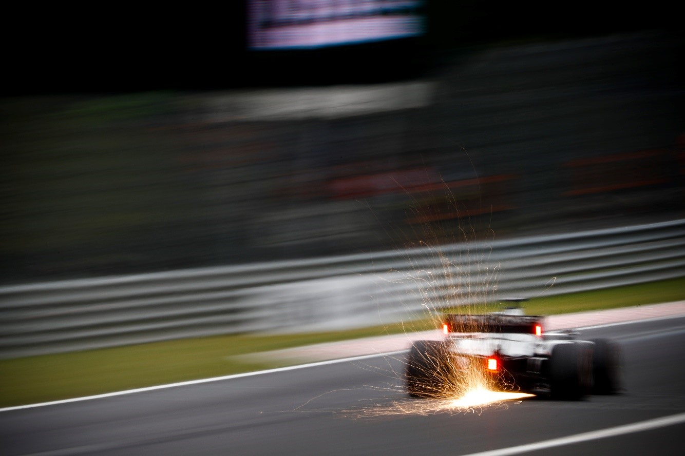 Haas racecar on race circuit