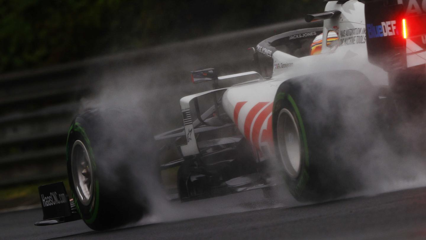 Haas racecar on wet track