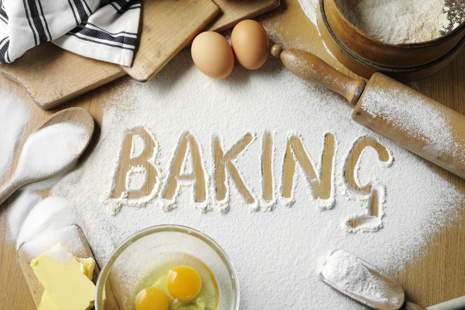 Baking equipment with 'Baking' calved into flour
