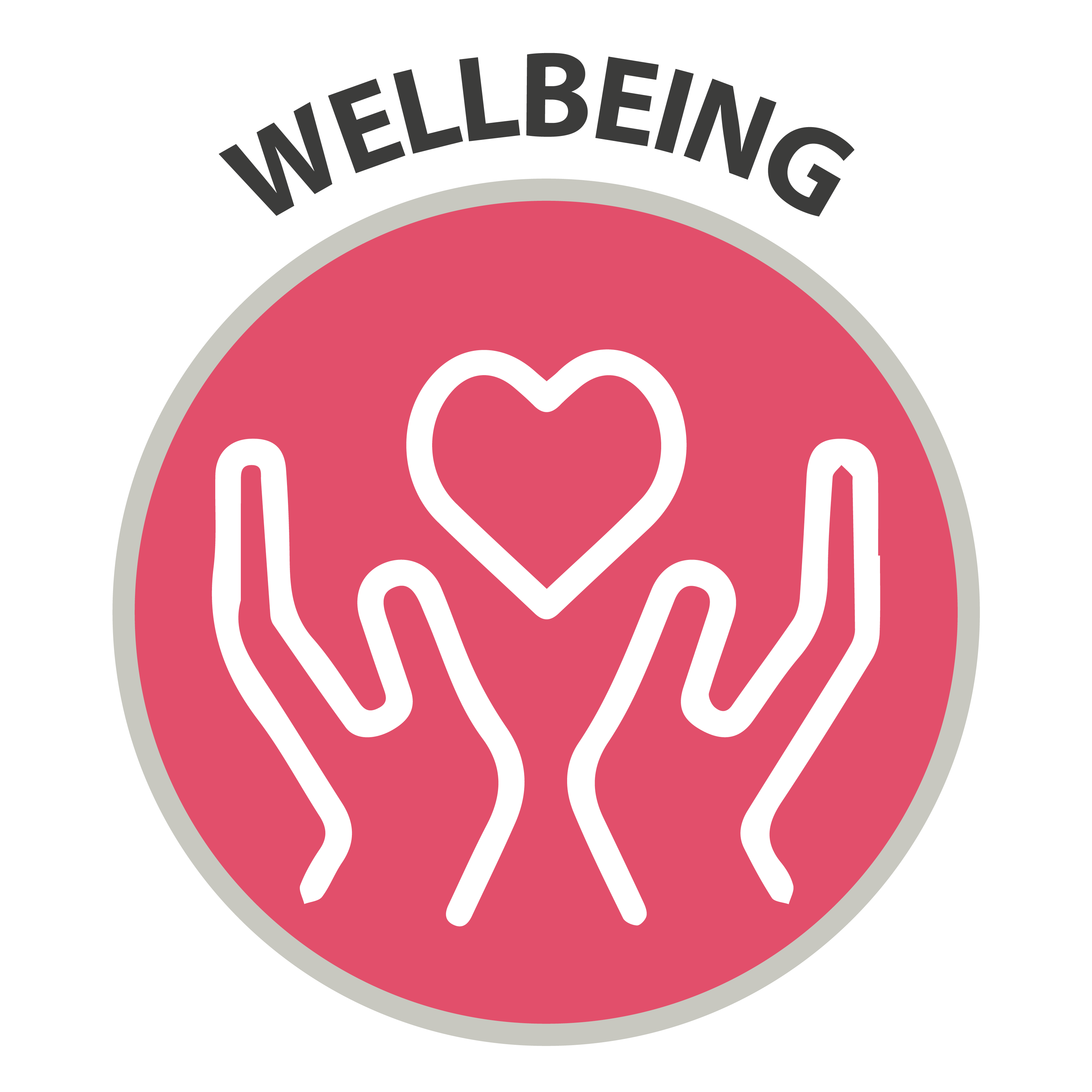 Wellbeing - icon of open hands and heart symbol
