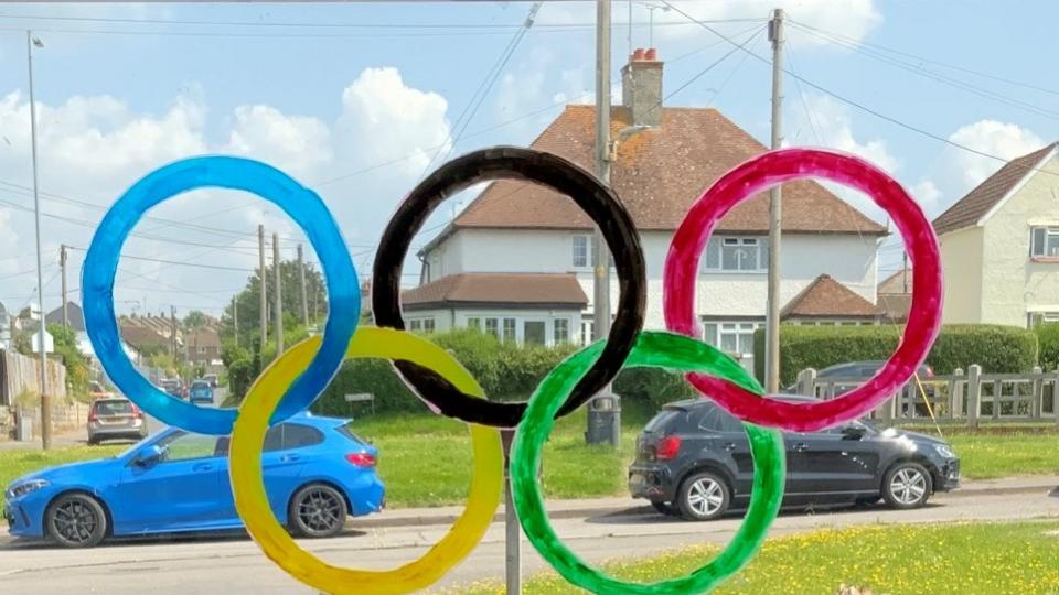 Olympic rings in the window at Buckland Court