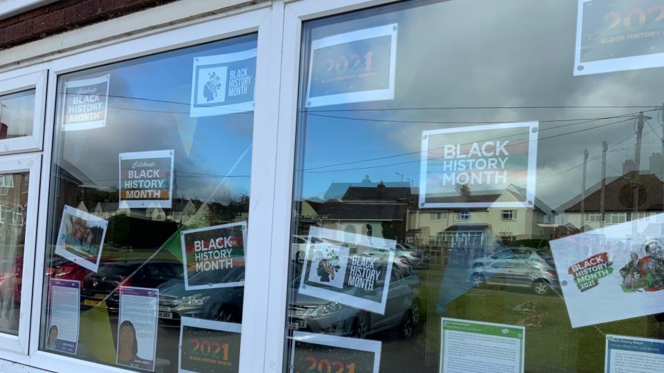 Buckland Court's window with Black History Month display