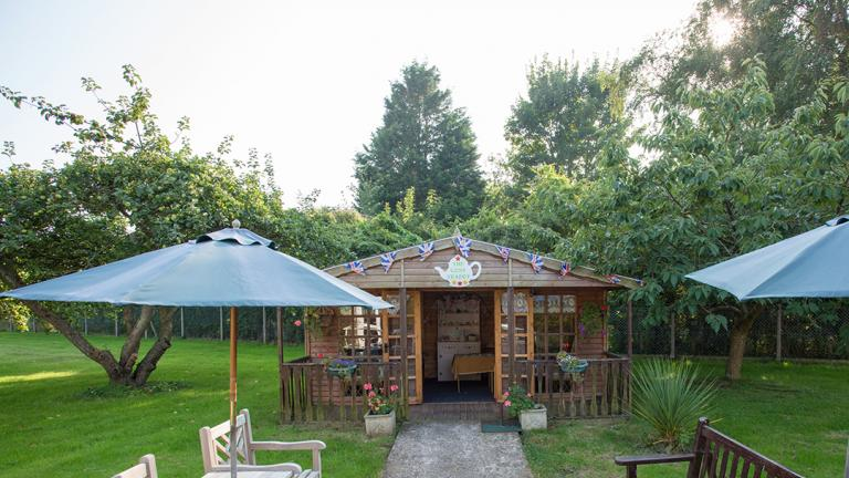 The Poplars summer house and garden