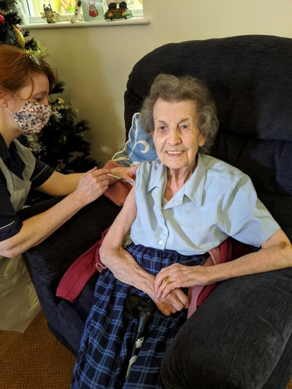 Dorothy vaccinated on her 96th birthday