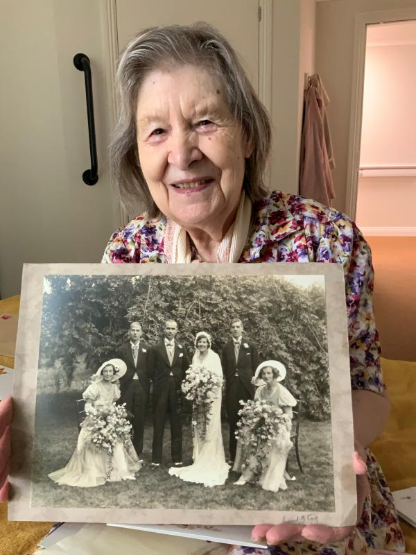 Rosemary shows off her family treasures