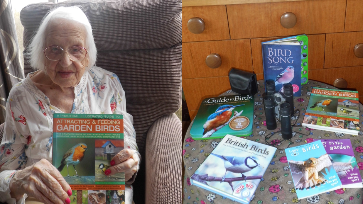 Frieda and the new wildlife book table at Langford View
