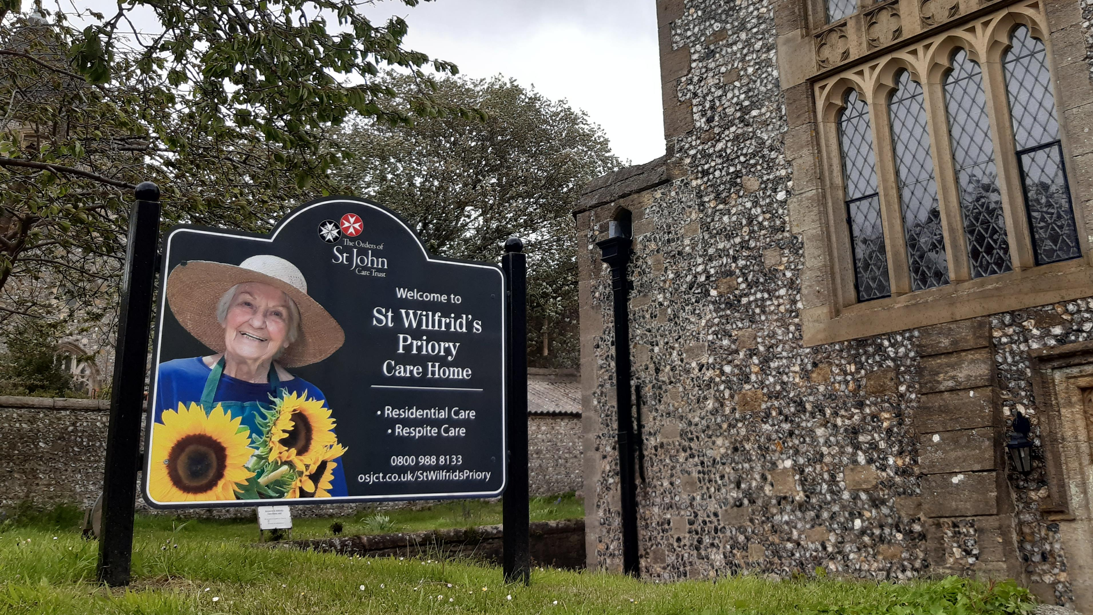 St Wilfrid's Priory main entrance and signage