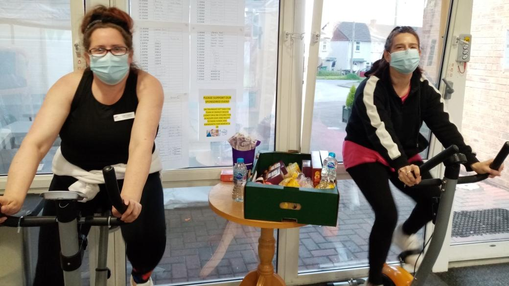 Activities Coordinator Dawn Copeland and carer Jenny Beddis on the morning of the cycle challenge for Dementia Action Week