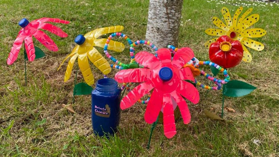 Flowers made out of plastic bottles