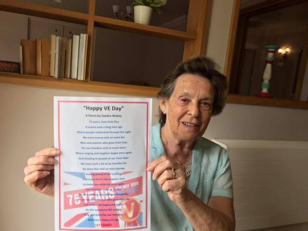A wonderful poem by Sandra Walley, one of the Goodson Lodge residents, written to commemorate VE Day 75.
